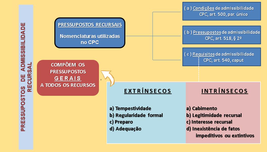 Pressupostos de admissibilidade recursal - Requisitos extrínsecos e intrínsecos