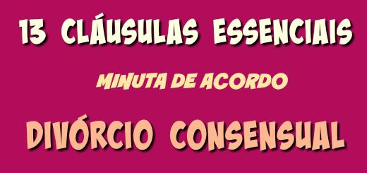 13 cláusulas essenciais de minuta de acordo em divórcio consensual
